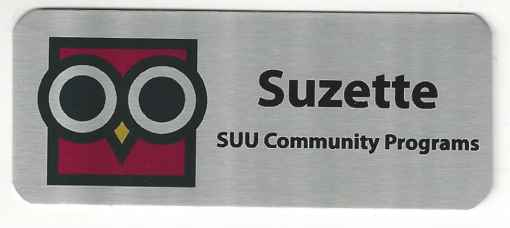 Silver Nametag with Black Letters