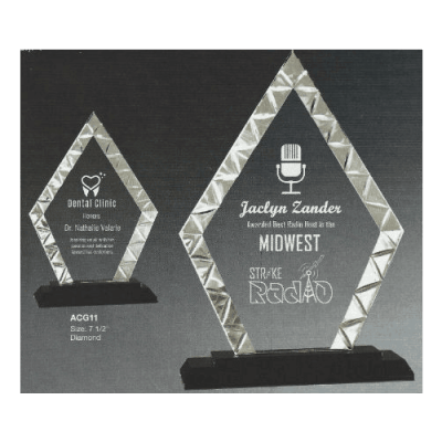 Styled Glass Pyramid Trophy with Black Base