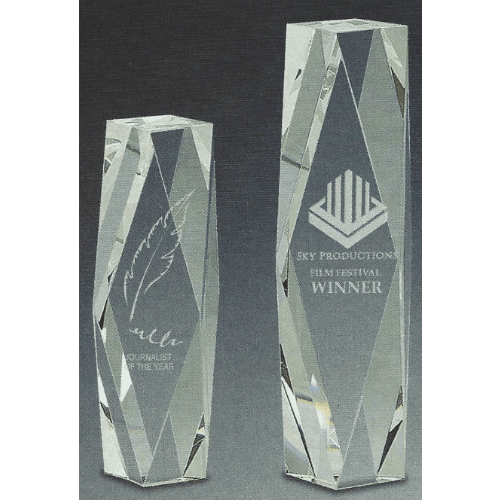 Laser Engraved Tower Glass Trophy