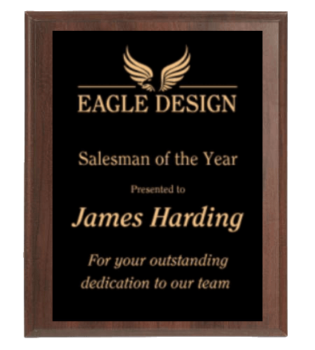 Black and Gold Award Plaque