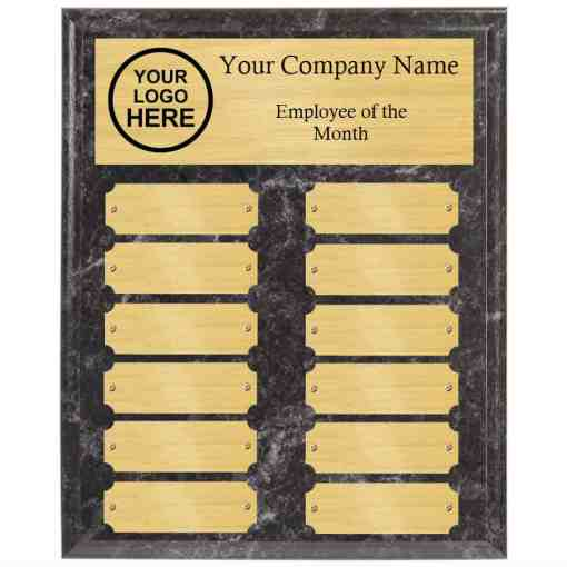 Black Marble Employee of the month perpetual plaques with gold plates