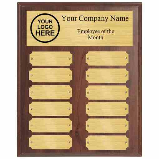 Walnut Employee of the Month Perpetual Plaque with Gold Plates