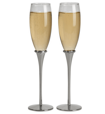 Silver Wedding Flutes with Crystals