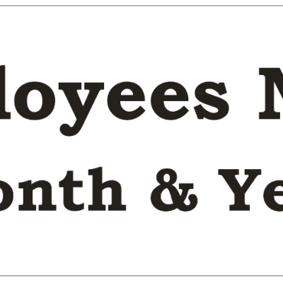 White Employee of the Month Plate