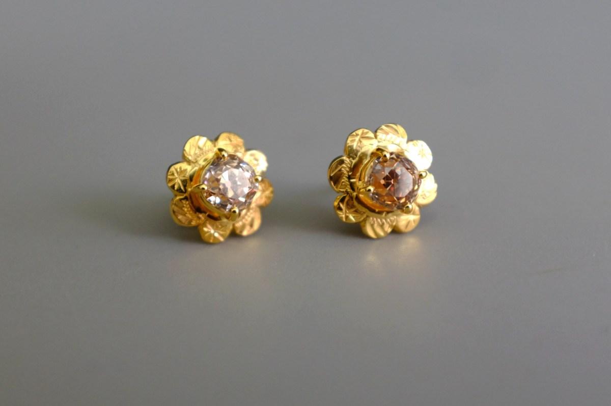 Old Mine Cut Diamond Earrings Antique 22k Chinese Gem Gardener