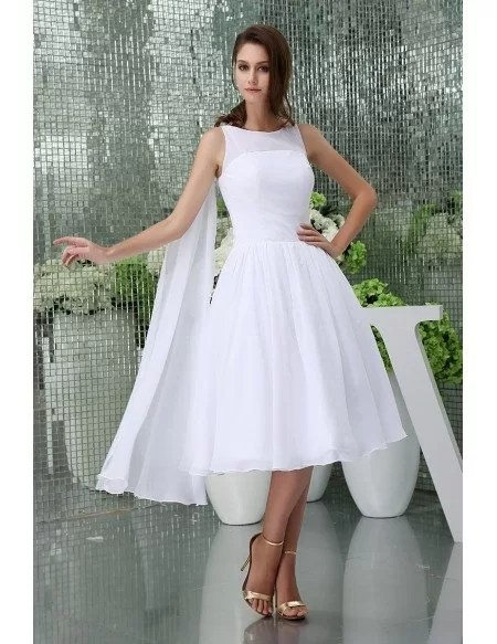 A-line High Neck Tea-length Chiffon Wedding Dress