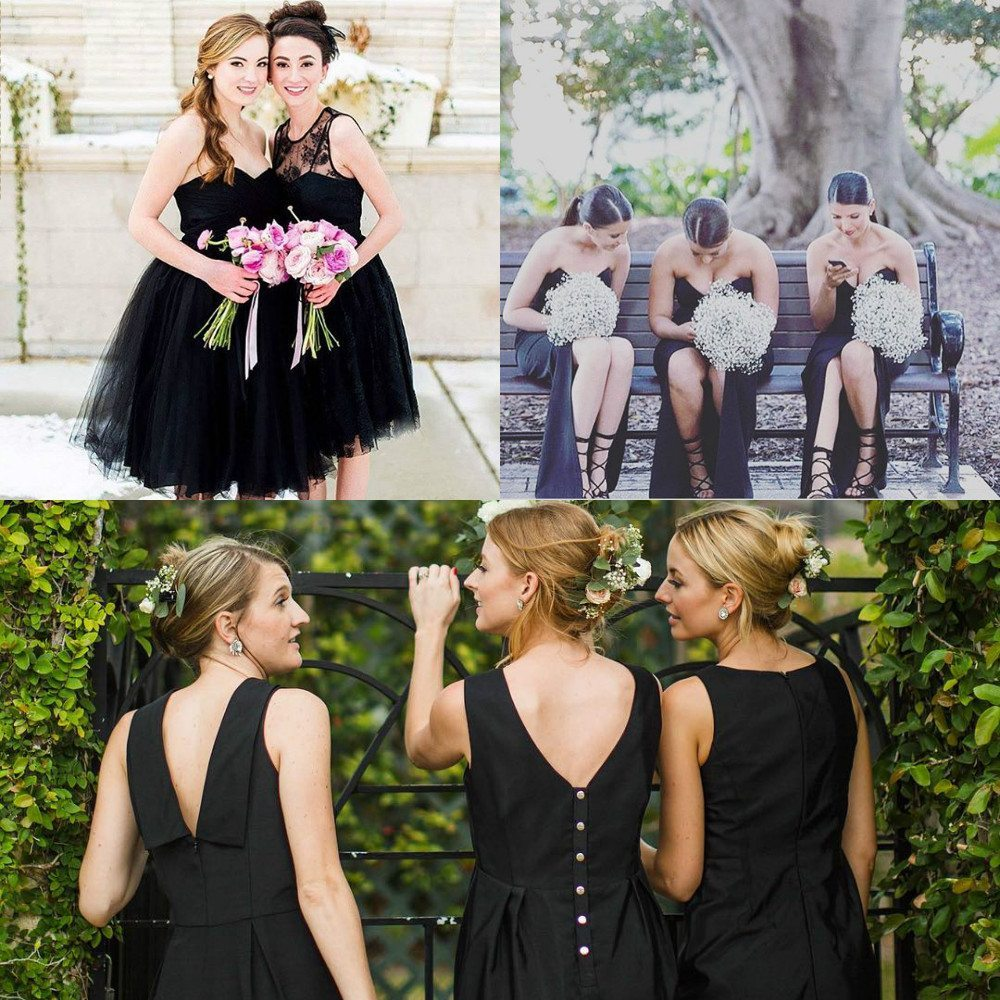 black color bridesmaid dresses