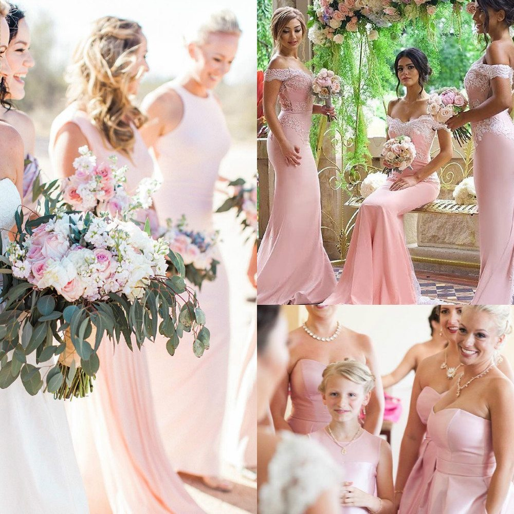pink color bridesmaid dresses