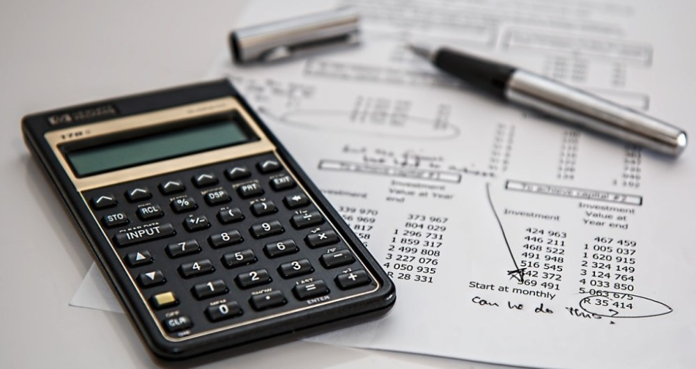 Calculator and accounts paperwork