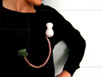 18. pink and elaborate väli. double brooch. painted wood, opal beads, quartz, oxided silver