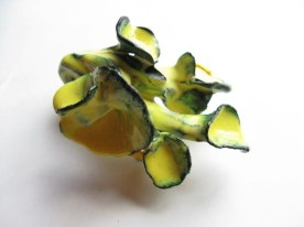 2. blossom delivery 10. brooch. copper, enameling, sculpey, paint