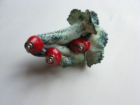4. blossom delivery 15. brooch. copper, enameling, sculpey, paint