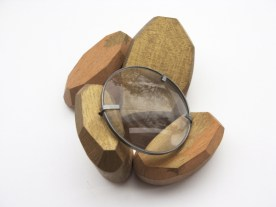 6. D is for Growth. brooch. wood, brass, sterling silver, optical lent