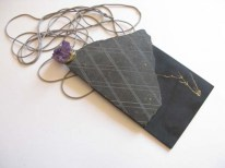 Lake Fortitude 7. Brooch 2011. Slate, acrilyc, amethyst, brass, thread. 16cm X 13cm X 6cm