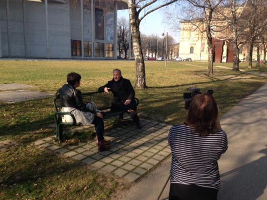 Sigurd Bronger being interviewed by Gemma Draper