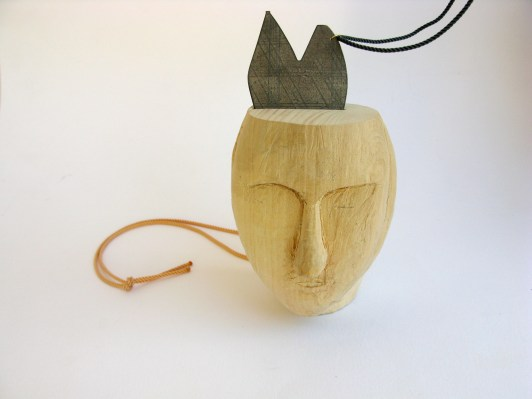 TBP3. Carved basswood, silver, 9kt gold, silk thread