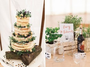 Naked wedding cake with roses and lavendar