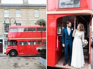 Red double decker wedding bus