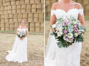 Bride and groom portraits in Coggeshall with hay bales
