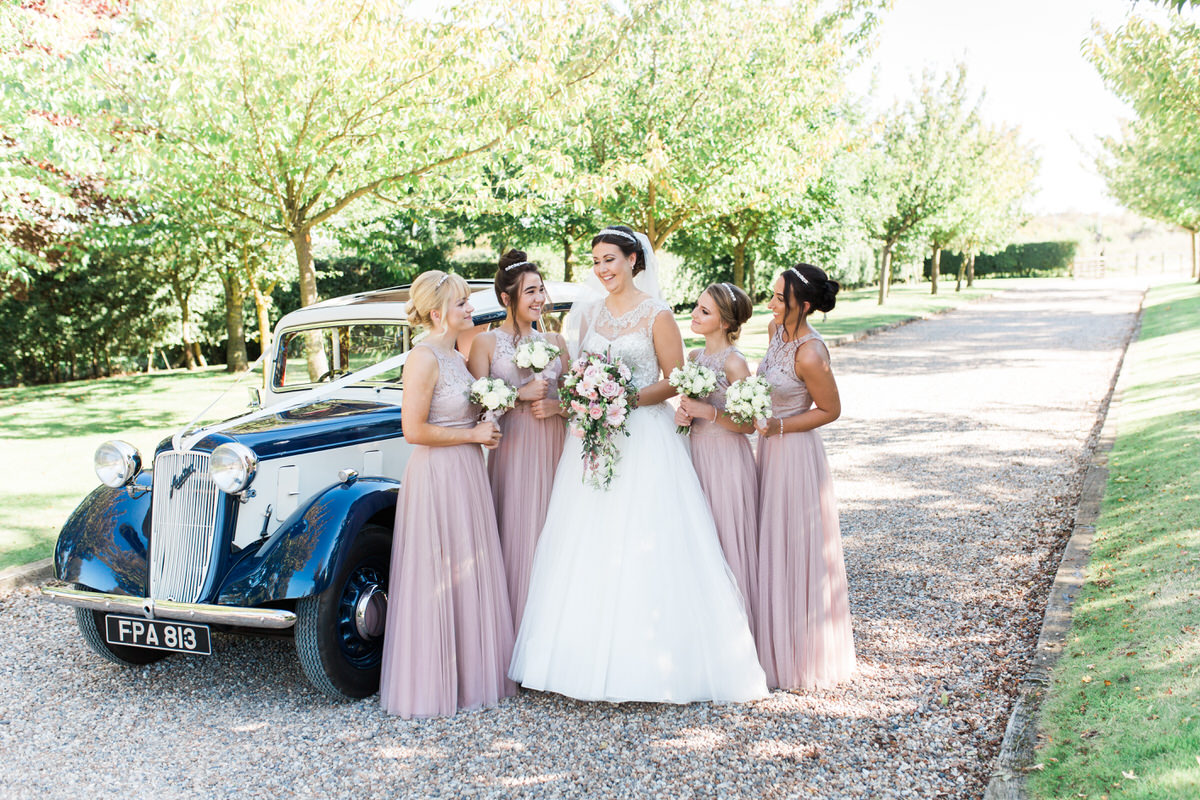 Bridal party before the ceremony at Crabb's barn