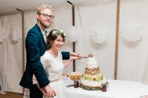 Cake cut, a cheese wedding cake with figs