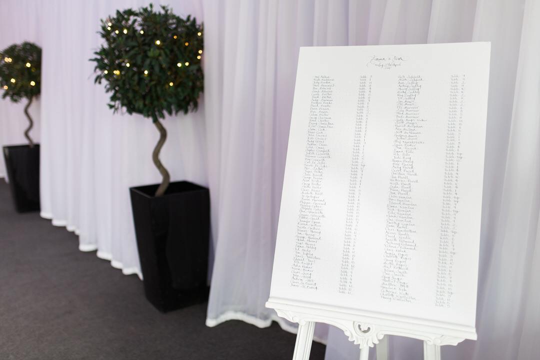calligraphy wedding table plan