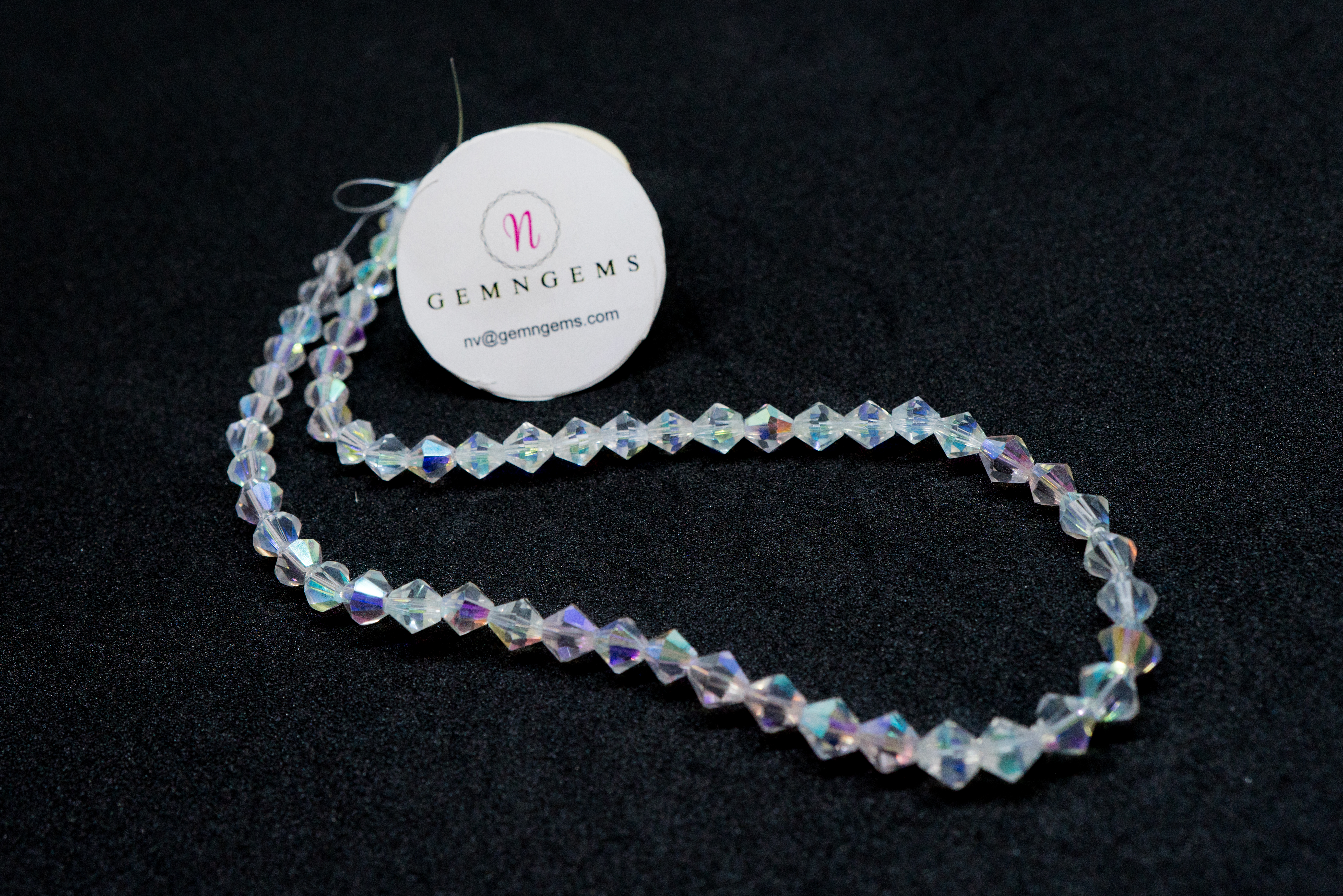 ecf0f7df5 6 mm Clear Crystal AB Color Bicone Beads Bead Strands