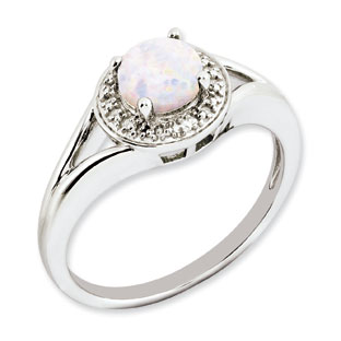 Round Opal October Birthstone Diamond Sterling Silver Ring