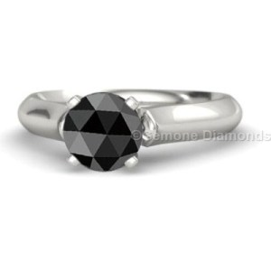 Rose Cut Solitaire Engagement Ring From Gemone Diamond Online  1 Carat Rose Cut Solitaire Engagement Ring Natural Black Diamond With 14k White  Gold Brilliant Marquise Cut Engagement Rings 3 Carat Natural Black Diamond