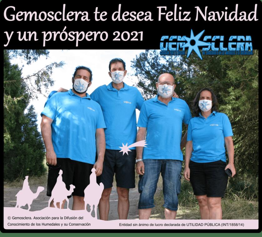 Felicitación navideña 2020 en la que aparece la Junta Directiva de Gemosclera: Víctor, Pilar, Dani,  Javi y Pilar en el campo y con mascarilla.