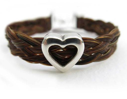 Horse Hair bracelet with silver heart