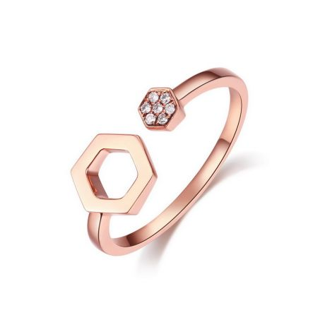 Bague diamant   Bague or blanc diamant   Bague de fiancaille diamant Bague ouverte hexagone  Or rose 18cts  diamants 0 030ct