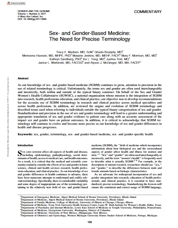 Sex- and Gender-Based Medicine The Need for Precise Terminology