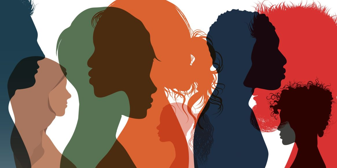 Silhouette,Profile,Group,Of,Men,Women,And,Girl,Of,Diverse