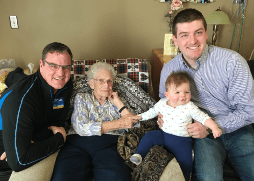 John with biological father and great-grandmother