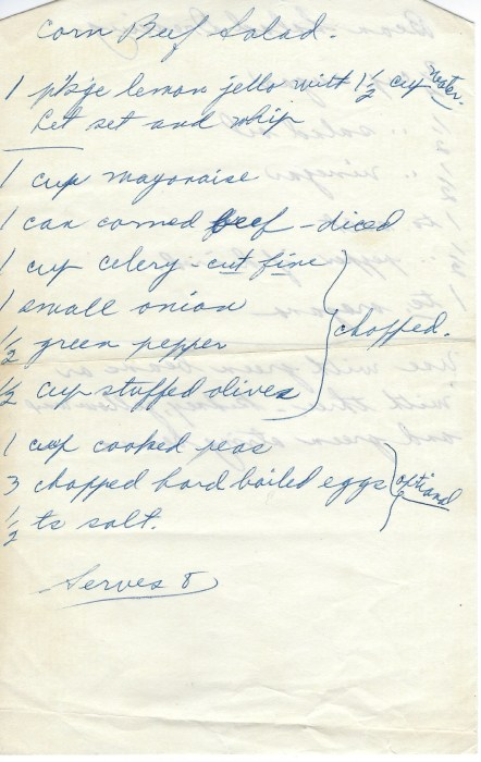 "Isabelle's recipe for ""Corned Beef Salad"""