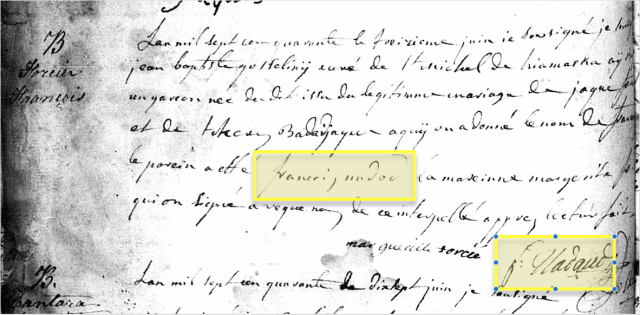 Baptism record of Francois Forcier with Francois Nadeau's name highlighted.