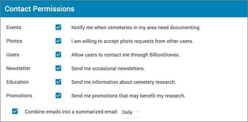 La messagerie interne de BillionGraves - Configuration