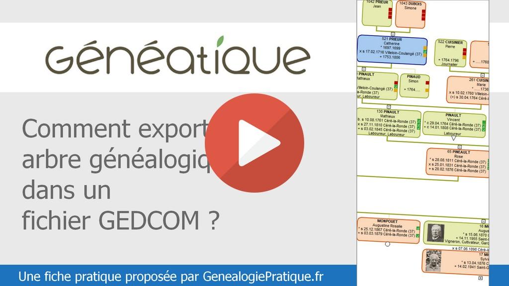 Geneatique : Comment exporter votre arbre généalogique dans un fichier GEDCOM ?