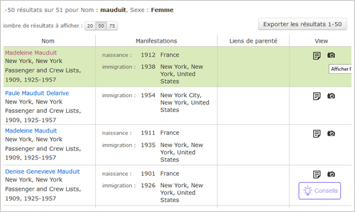 Les listes de passagers de Ellis Island accessibles gratuitement sur FamilySearch - Table Resultats
