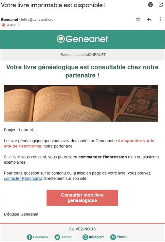 Geneanet - Livre imprimable - Courriel Consulter livre familial