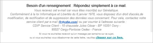 Genealogistes Attention a votre adresse e-mail - Geneatique - Lien de désinscription