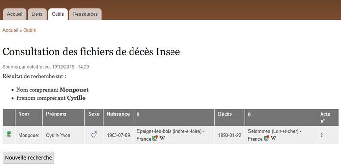 Fichiers décès INSEE - Histoire de familles