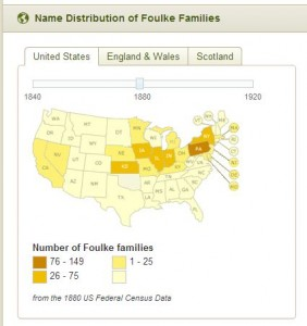 Foulke Surname Distrubtion Map 1880 US