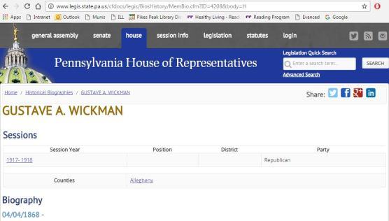 Gustave Wickman Pennsylvania house of representatives