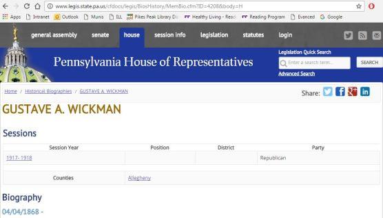 Gustave Wickman Pennsylvania house of representatives