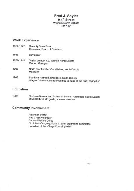 F. J. Sayler Resume