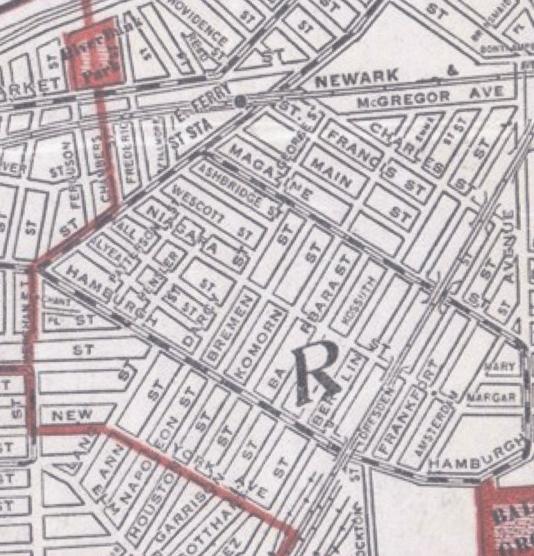 1910 Map of Newark showing early names.