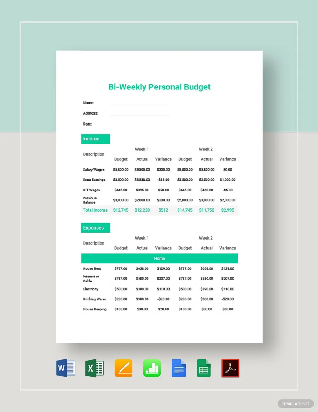 Bi Weekly Budget Template Examples