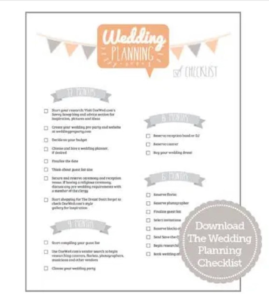 Wedding Checklist Template Samples